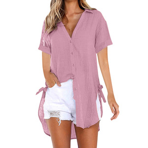 Plus Size Ladies short Sleeve Blouse 2019 Casual Women Solid color Blouse Shirt Loose Tunic Robe Feminina Tops#D10