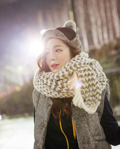 2015 Новая Мода Женщина Мохер Шарф Случайный Теплый Толстый Шарфы Вязаный Шарф Женщин Зимние Шарфы K05023