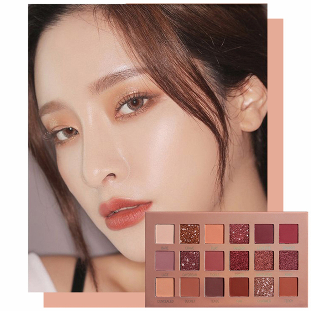 18 Colours  Long-lasting Waterproof and Glazed Eyeshadow Palettes