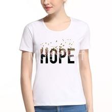 New 2017 Fashion Women T-Shirt Creative Hope Letter Design Summer Kawaii Casual Short Sleeve Top Tees Plus Size L7-A-4