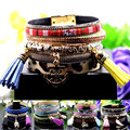 Handmade Feather Wide Multilayer Leather Bracelet Magnetic Tassel Bracelet Women Wrap Charm Boho Bohemian Bracelets Bangle Men