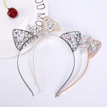 2019 Rhinestone Cat Ears Headbands For Women Girls Cute Metal Crystal Flower Jewel Hairband Hair Hoop Accessories