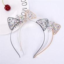 2019 Rhinestone Cat Ears Headbands For Women Girls Cute Metal Crystal Flower Jewel Hairband Hair Hoop Accessories