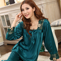 2015 Summer Sexy Silk Sleepwear Long-sleeve Set Women's Elegant Lace Square Collar Silk Lounge Hot Sale Green Pink Satin Pajamas