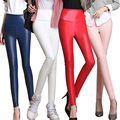 Las mujeres del Otoño Y el Invierno, Además de Terciopelo PU Pantalones de Cintura Alta Femenino forme a mujeres LA PU de Cuero Pantalones Flacos Más El Tamaño S-4XL de Colores Mucho