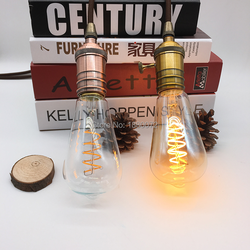 soft filament <font><b>led</b></font> lamp ST64 4w amber curved <font><b>led</b></font> filament <font><b>bulb</b></font> image