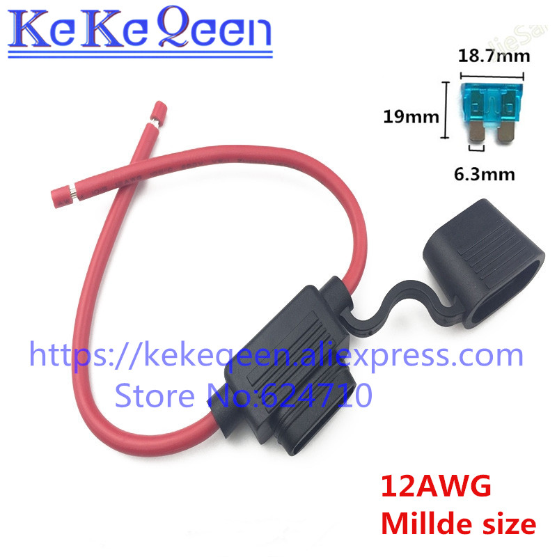 50Pcs 12 AWG 14AWG Medium 16AWG Small Car Fuse Holder Water resistant Waterproof Automotive Fuse Holder