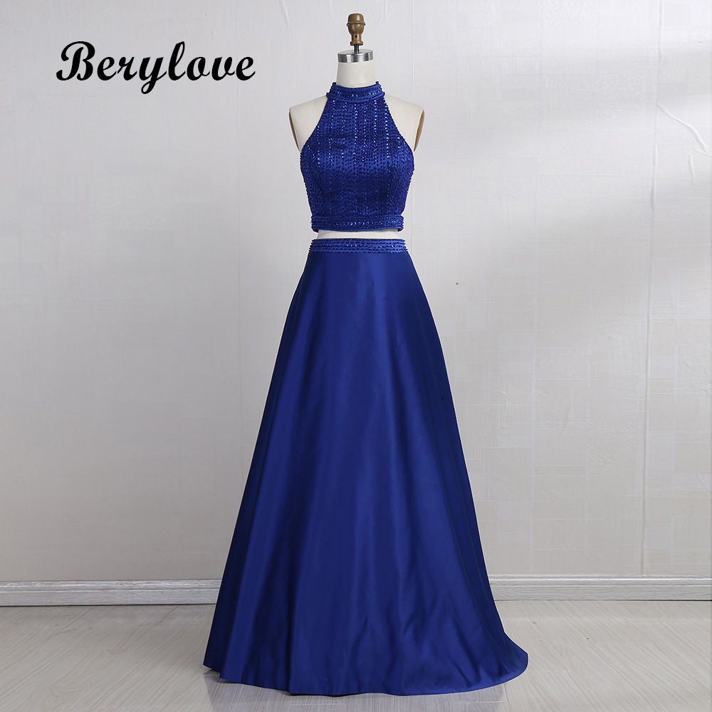 BeryLove Two Pieces Prom Dresses 2018 Royal Blue Prom Gowns Long ...