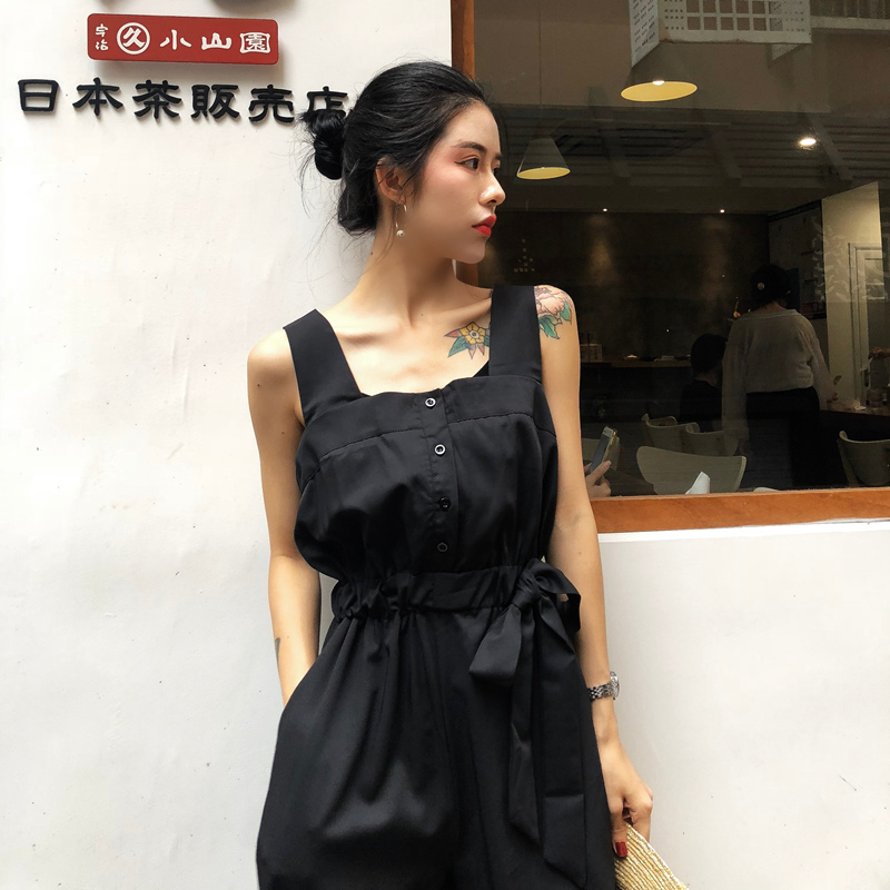 HziriP Sexy Jumpsuit Women Romper 2018 Summer Loose Solid Elegant Party Square Neck Sexy Playsuits Sleeveless Long Pant Overalls 6