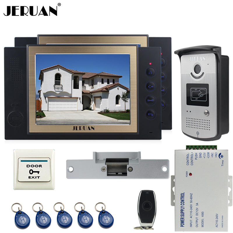JERUAN two luxury 8`` LCD Video Door Phone System 700TVT Camera access Control System+Cathode lock+Remote control+8GB card jeruan black 8 lcd video door phone system 700tvt camera access control system cathode lock remote control 8gb card