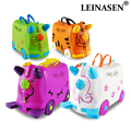 N моды путешествия чемодан шкафчик Для мальчиков и девочек игрушечных автомобилей коробка чемодан может сидеть детская флажок детский праз...