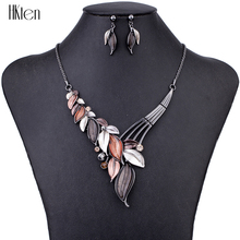 MS1504615 Модные Ювелирные наборы высокое качество 5 цветов ожерелье наборы для женщин ювелирные изделия кристалл Смолы Уникальные листья дизайн подарки