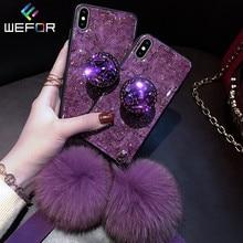 Роскошный Алмазный Мраморный блестящий чехол для телефона iPhone X XR XS MAX 7 8 6s 6 Plus с кроликом меховой шар чехол для телефона iPhone XR
