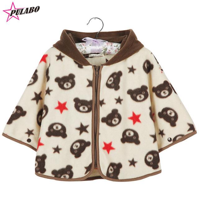 Alta Qualidade Do Bebê meninas Algodão Urso Manto Bebê meninos marca de Inverno com capuz Casaco Infantil Bebê Outwear Bebê Recém-nascido Xailes Jacket