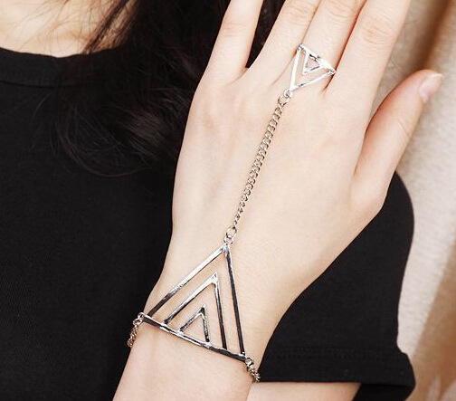 2015 Europe Street beat metal rock back chain ring triangle one piece of jewelry