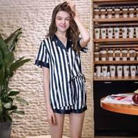 New Vertical Striped 2 Two Piece Set Nightwear Shorts Pijama Set Women Loungewear Pajama Suit Sleepwear Silk Pyjamas Summer