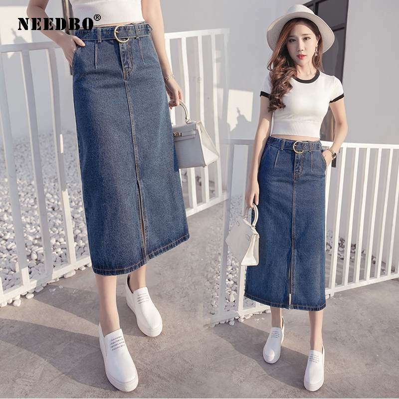 NEEDBO Women Skirts Denim Casual Long Midi Skirt Slim Sexy Party Jeans High Waist Jupe Femme