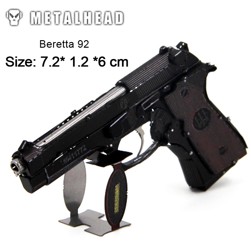 3D Metal Nano Puzzles Models Mini Color Beretta 92 Laser Cut Jigsaw Kits For Adults Children Educational Interest Training Toys