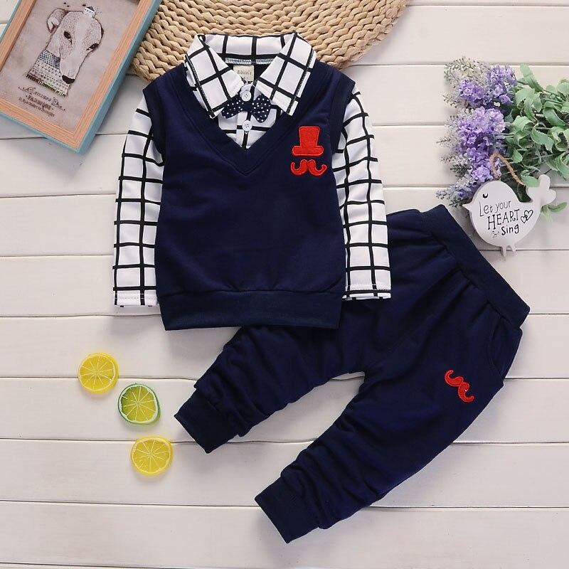 BibiCola אביב סתיו תינוק ילד בגדי סט ילדי בגדי סטי מוצרי ילדים בגדי תינוק בנים T-חולצות + מכנסיים 2 יחידות אימונית