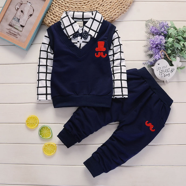 BibiCola primavera outono Roupas de Bebê Menino Definir Roupa Das Crianças Define Produtos para Crianças Roupa Do Bebê Meninos T-camisas + Calças 2 PCS Treino