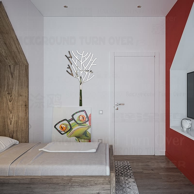decoratieve boom 3d spiegel muurstickers wc deur tegel sticker winkel woonkamer slaapkamer muur decor kamer decoratie