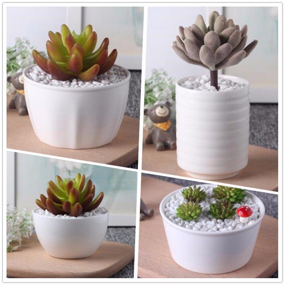 New small white decorative Creative ceramic Flowerpot Kawaii ...