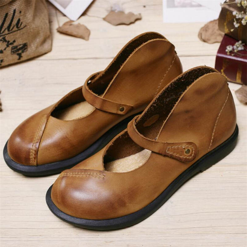 Whensinger - 2017 Woman Spring Summer Female Flats Shoes Casual Solid Plain Round Toe Genuine Nubuck Leather Elegant Fashion