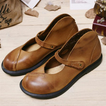 Whensinger – 2017 Woman Spring Summer Female Flats Shoes Casual Solid Plain Round Toe Genuine Nubuck Leather Elegant Fashion