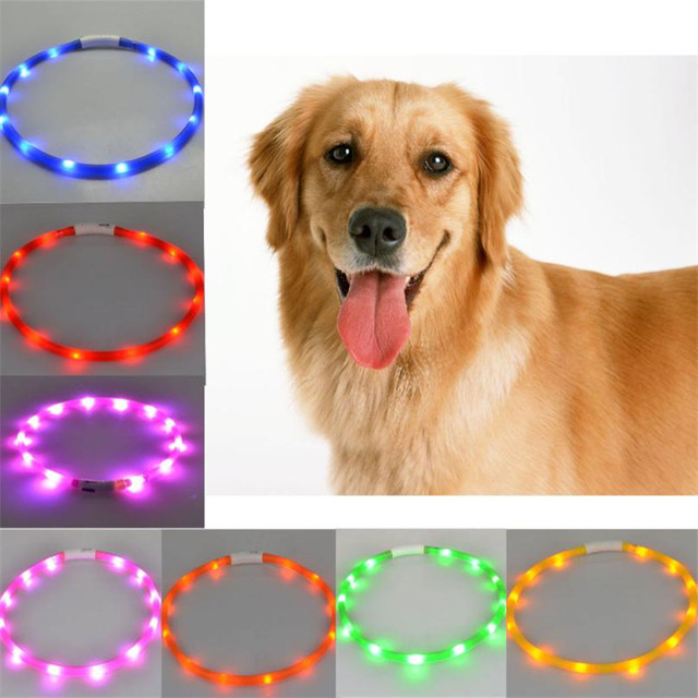 50/70 CM Tagliabile USB Led Pet dog cat collare anti perso Ricaricabile puppy ne