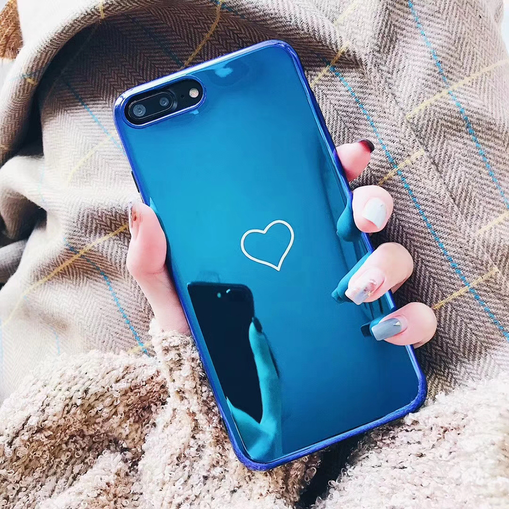 Mirror case heart cover for iphone