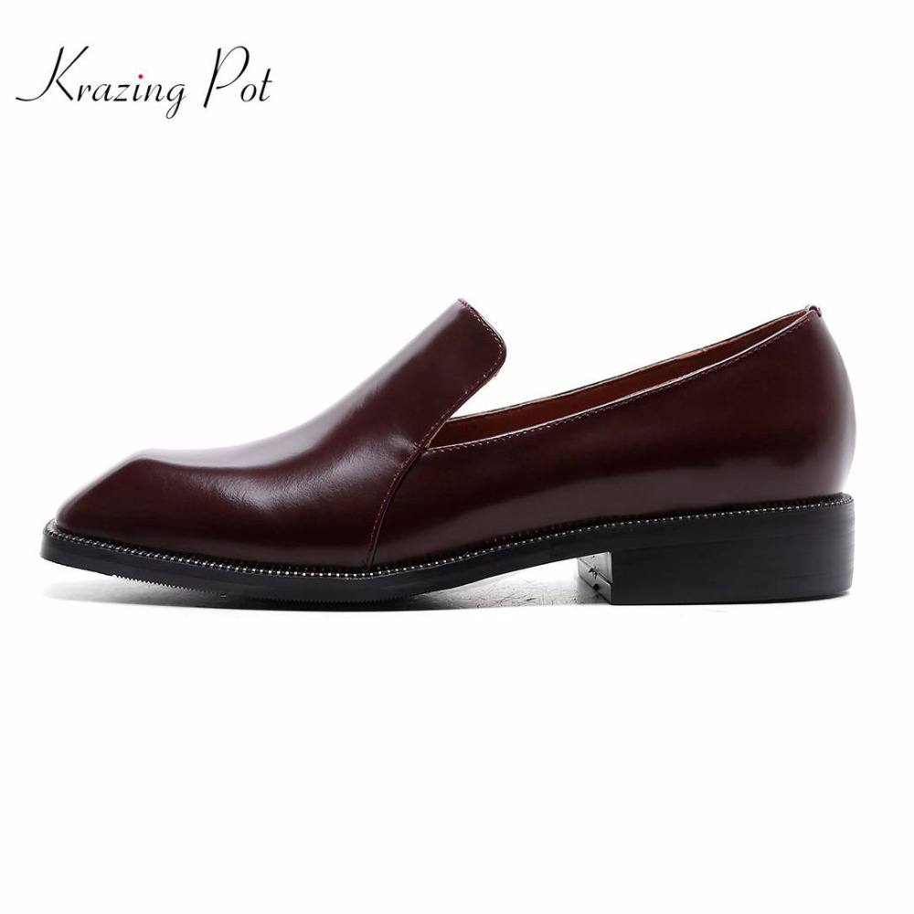 Здесь продается  Krazing pot 2018 new fashion low heels women brand pumps solid color silp on office or dress square toe model show shoes L72  Обувь