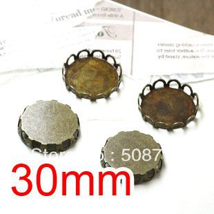 Free shipping!!! Bronze Tone Cabochon Frame Settings 30mm,Cameo Cab settings,pendant bas ...