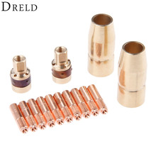 DRELD 14Pcs TIG Welding Torch Kits Tip Nozzle 169715 Adapter 169716 Contact Tip 000067 for TIG Welding Torch Welding Accessories
