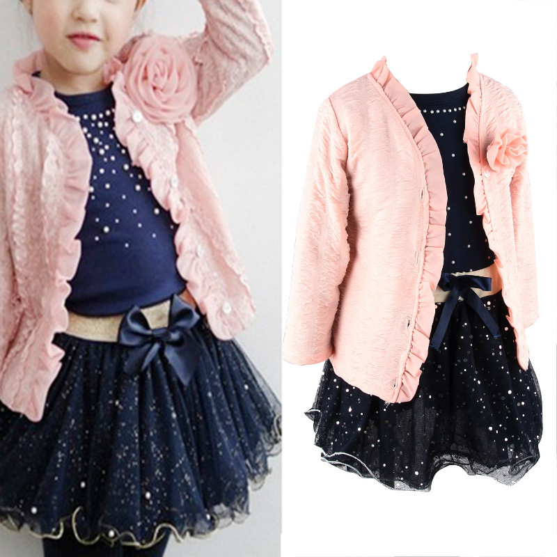 Summer Girls clothing sets Infant Baby Floral Coat + T-shirt + Skirt Tutu Set Suit Pink Chirdren Clothes 2-7 Years free shipping