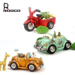 Image 2 - Roogo 자동차 꽃 냄비 재배자 실내 수지 정원 11 스타일 작은 즙이 많은 계획 냄비 야외 현대 가정 장식 인형