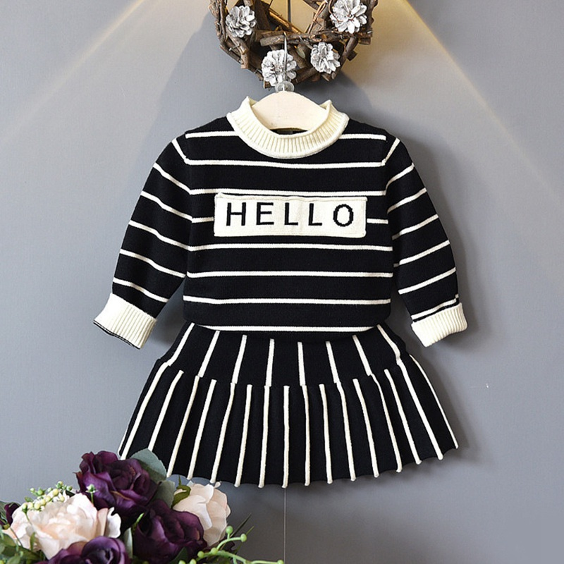 Autumn winter Children Baby kid's girls long sleeve Knitted stripe sweater Pullover Tops+skirt 2 pcs Clothes Set Suit Y2603 girls dress long sleeved knit cardigan sweater suit 2016 children clothing set two piece skirt autumn girls clothes tops