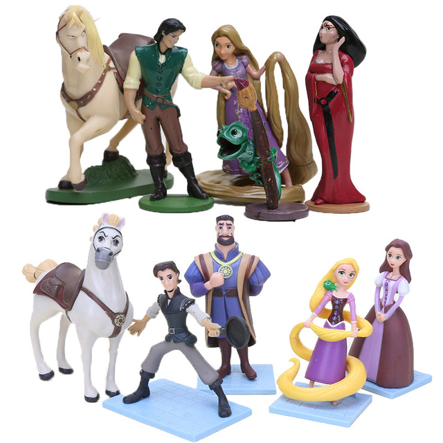 5pcs Lot Cartoon Tangled Rapunzel Princess Figures Dolls Flynn Rider