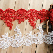 White Red Embroidery Wedding Veil Lace Trim Handmade DIY Materials Lace Fabric Decor Accessories Width 13.5cm 2Yds/lot