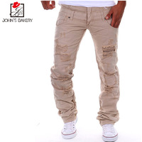 Mens Joggers Pants 2017 Brand Male Cargo Pants Solid Slim Tights Holes Trousers Compression Men Jogger