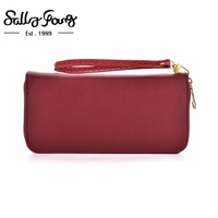 2017 Sally Young International Brand Women Wallet Long Purse Solid Color Zipper Wallet 9 Colors VKP1432