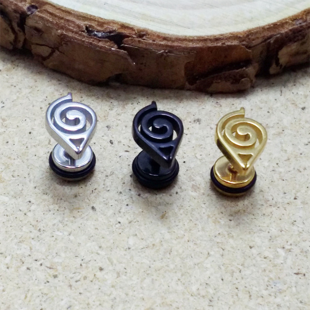 Naruto Silver Gold Black Stud Earrings