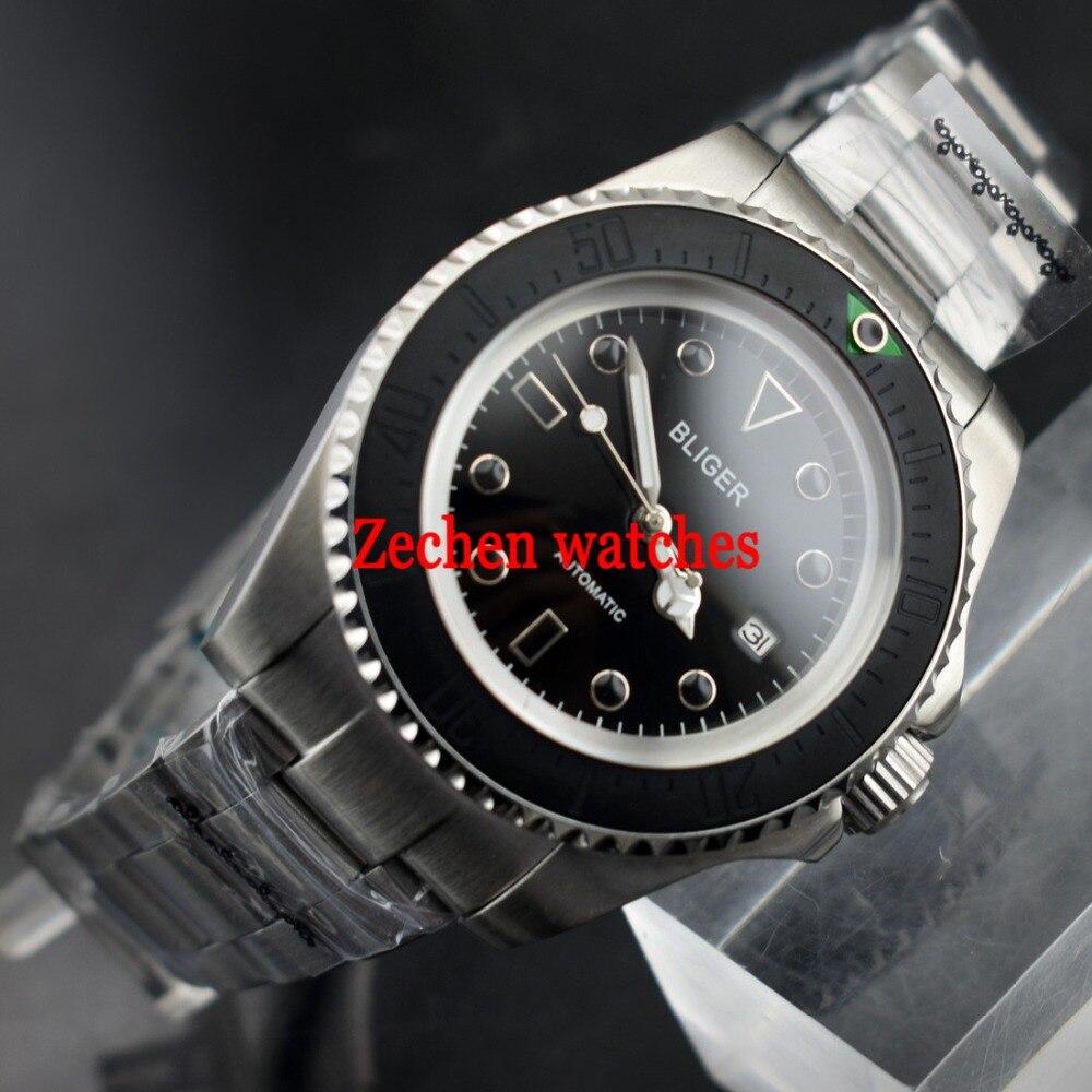 43mm Bliger Automatic Mechanical Luminous hands Mens Steel Bands Watch WristWatch цена и фото