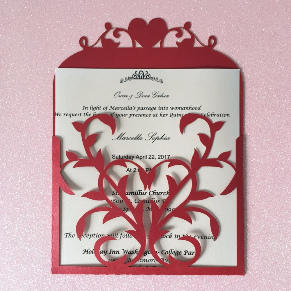50pcs Pocket Heart Design Postcards Gatefold Engagement Party ...
