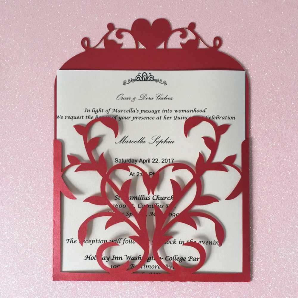 50pcs Pocket Heart Design Postcards Gatefold Engagement Party Wedding Invitation Cards Celebrating Blank Rsvp Card Place Card