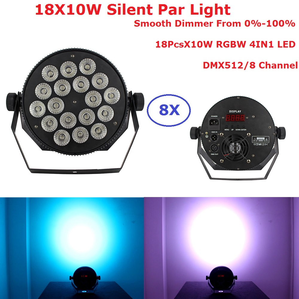 8 Pack LED Par Lights 18X10W RGBW 4IN1 LED Flat Par Lights DMX 8Ch Stage Lighting Effect Dj Disco Wash Lights For XMAS Party