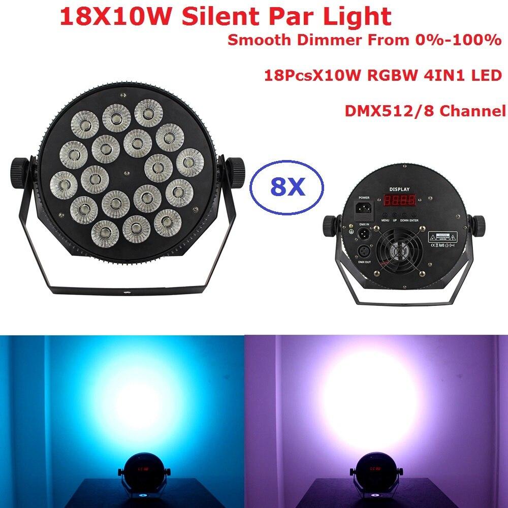 8 упак. светодиодный Par огни 18X10 Вт RGBW 4IN1 светодиодный плоский Par фары DMX 8Ch этап эффект освещения диско Dj Wash огни на Рождество вечерние