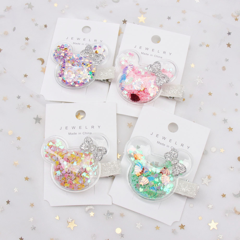 Oaoleer Hair Accessories Jelly Bows For Girls Sequins Transparent Hair Bows Crown Beads Hairgrips Side Clips Baby Hair Clips