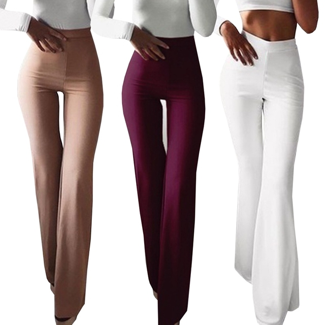 090a4cc7ff Fashion Women Spring Summer Party Mid Waist Slim Fit Solid Stretchy Bell  Bottom Flare Trousers Wide Leg Palazzo Pants
