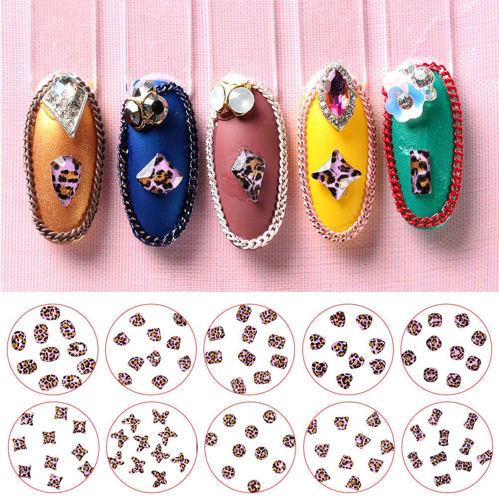 10PCs/Bag 3D Design Purple Leopard Print Nail Rhinestones Flat Back Glass Nail Art Decorations Manicure Tips Nail Stones Gems