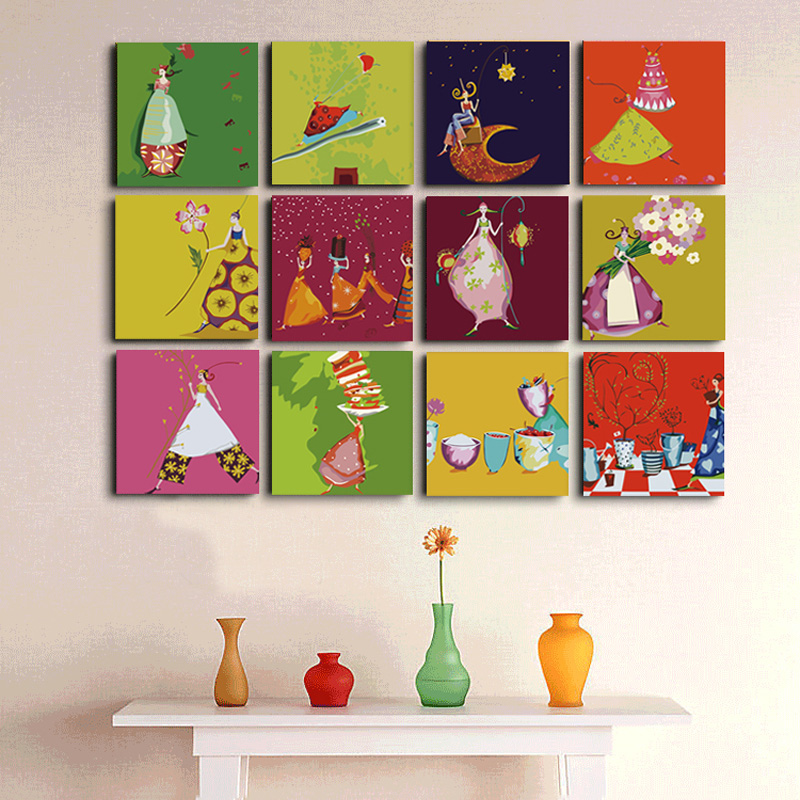 Diy digital oil painting with frame painting by numbers for Multi canvas art diy
